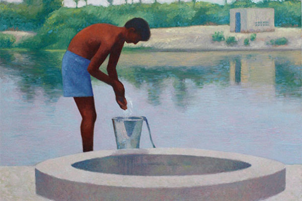 Boy at the well: oil on canvas