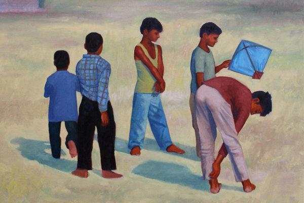 Boys with a kite: oil on canvas