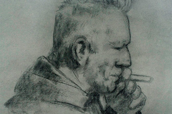 Father With Cigar Drawing Charcoal