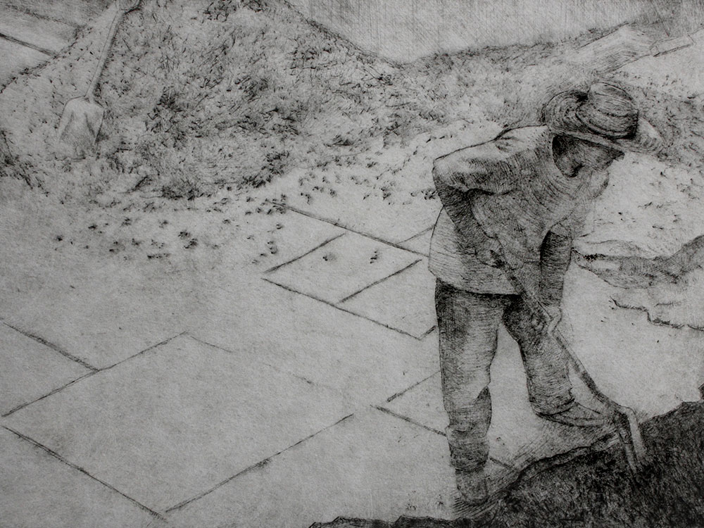 Mexican Worker Drypoint