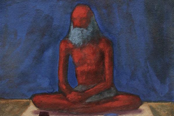 Sadhu: Gouache on handmade paper